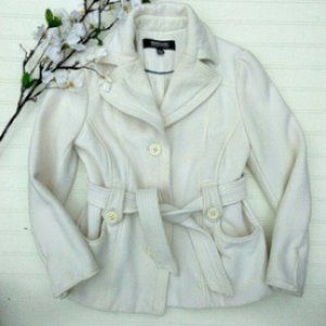 Kenneth Cole Reaction Belted Cream Knit Jacket
